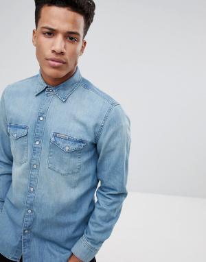 Calvin Klein Классическая джинсовая рубашка. Цвет: синий