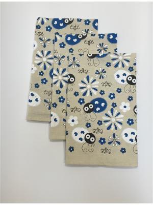 Набор-полотенец, 3 шт A and C Collection. Цвет: синий, бежевый, белый