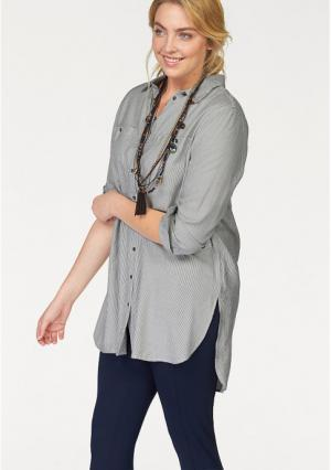 Удлиненная блузка BOYSENS BOYSEN'S. Цвет: серый/белый в полоску