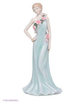 Статуэтка Дама в вечернем платье Pavone. Цвет: светло-голубой, бежевый, бирюзовый, розовый