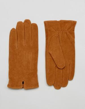 Barney's Originals Светло-коричневые замшевые перчатки Barneys. Цвет: рыжий