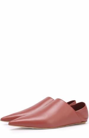 Кожаные слиперы с мягким задником Marni. Цвет: коричневый