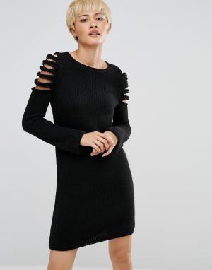 Oneon Вязаное платье-джемпер с вырезами на плечах. Цвет: черный