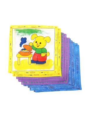 Носовые платки, 10 шт Lola. Цвет: желтый, синий, фиолетовый