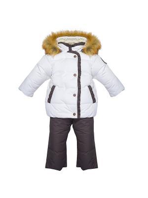 Комплект (куртка+полукомбинезон) Бимоша. Цвет: молочный