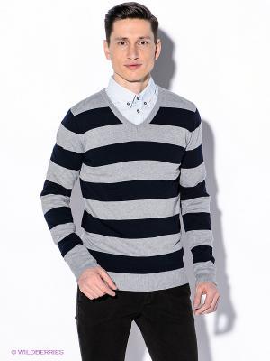 Пуловер Oodji. Цвет: серый меланж, темно-синий