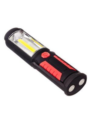 Фонарь  2Вт+0,5Вт, 1LED+1COB, питание 3АА (в комплект не входят), магнит, 6*5*21,5см Ермак. Цвет: черный