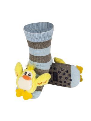 Носки детские с игрушкой Soxo. Цвет: серый, светло-голубой