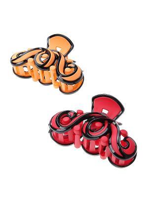 Заколка-краб, 2 шт. Migura. Цвет: оранжевый, красный, черный