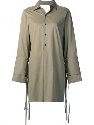 Платье-рубашка с двойными манжетами Tome. Цвет: зелёный