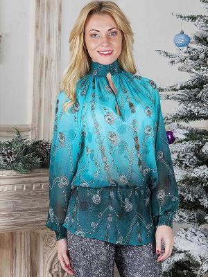Блузка MARY MEA. Цвет: бирюзовый, зеленый