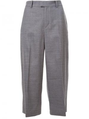 Широкие укороченные брюки Tropical Gaucho Cityshop. Цвет: серый