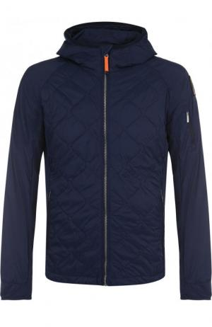 Стеганая куртка на молнии с капюшоном Parajumpers. Цвет: темно-синий
