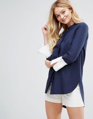 Closet London Асимметричная блузка с контрастными манжетами. Цвет: мульти
