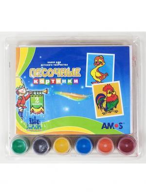 Набор для детского творчества Песочные картинки-утка и петух 2 кар-ки, 6цв. песка по 40г AMOS. Цвет: синий
