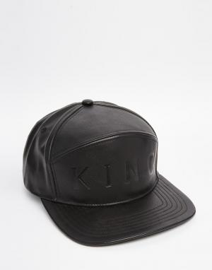 King Apparel 6-панельная кожаная бейсболка. Цвет: черный
