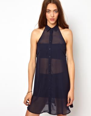 Платье-рубашка с вытачками BACK By Ann-Sofie Ann Sofie. Цвет: midnight blue