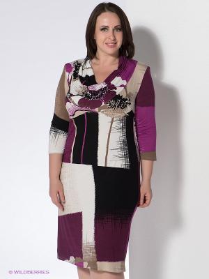 Платье Klimini. Цвет: фиолетовый, бежевый