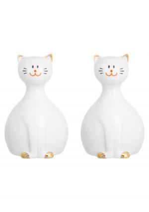 Набор для специй Коты (2 пр.) Elan Gallery. Цвет: белый (белый, золотистый)