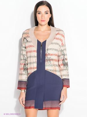 Платье FRACOMINA. Цвет: кремовый, темно-синий, бордовый