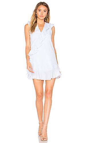 Льняное мини платье fortin Karina Grimaldi. Цвет: синий