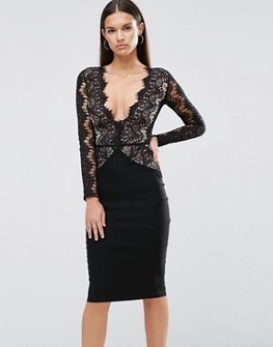 Rare Платье-футляр с кружевным лифом и фигурной отделкой London. Цвет: черный