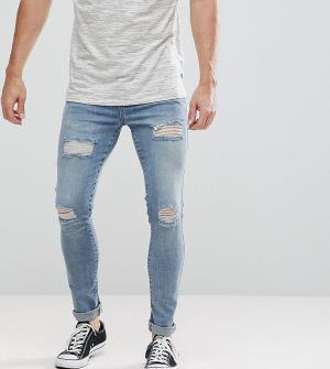Brooklyn Supply Co. Обтягивающие джинсы с заплатками Co. Цвет: синий