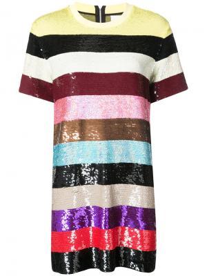 Полосатое платье с пайетками Ashish. Цвет: многоцветный