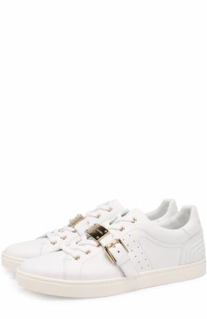 Кожаные кеды London на шнуровке с декоративной пряжкой Dolce & Gabbana. Цвет: белый