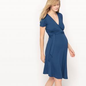 Платье с запахом для периода беременности R essentiel. Цвет: синий,черный