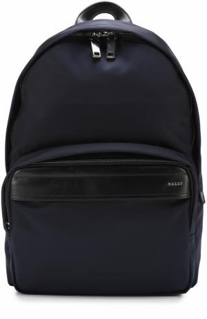Текстильный рюкзак с кожаной отделкой Bally. Цвет: темно-синий