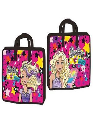 Портфель пластиковый на молнии с одним отделением и тканевыми ручками А4+ Barbie Mattel. Цвет: бледно-розовый