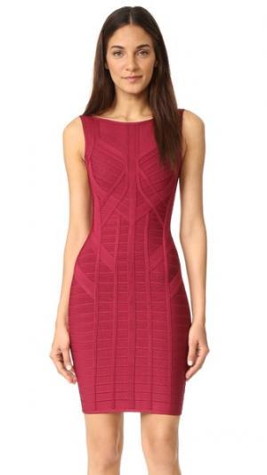 Платье без рукавов Herve Leger. Цвет: темно-бордовый