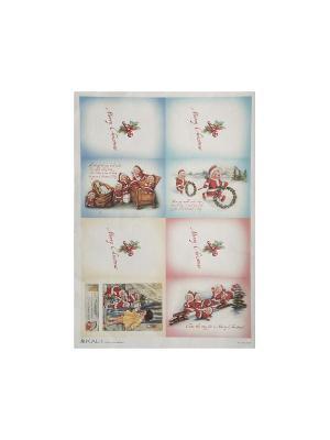 Декупажная карта 32*45 новогодние открытки Idigo. Цвет: сиреневый, прозрачный