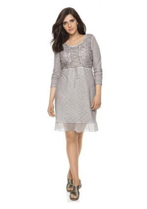 Платье Linea Tesini. Цвет: серо-бежевый