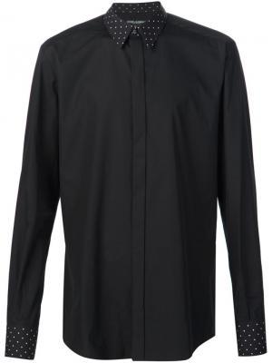 Рубашка с воротником и манжетами в горох Dolce & Gabbana. Цвет: чёрный