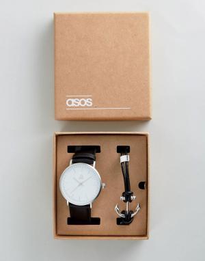 ASOS Подарочный набор из часов и браслета с якорем. Цвет: черный