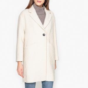 Пальто длинное двухцветное из шерсти и альпаки POMANDERE. Цвет: зеленый,экрю