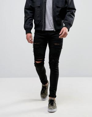 Criminal Damage Черные обтягивающие джинсы с рваной отделкой. Цвет: черный