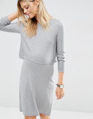 ASOS Maternity Трикотажное платье для беременных. Цвет: серый