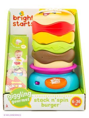 Развивающая игрушка-пирамидка Веселый бутерброд BRIGHT STARTS. Цвет: желтый