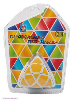 Развивающая игрушка Головоломка пирамидка 1Toy. Цвет: желтый, зеленый