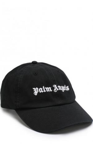 Хлопковая бейсболка с логотипом бренда Palm Angels. Цвет: черный