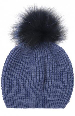 Кашемировая шапка с помпоном из меха енота Kashja` Cashmere. Цвет: голубой