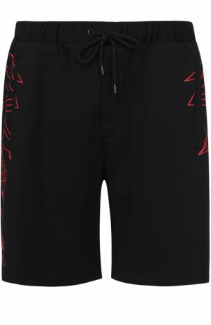 Хлопковые шорты свободного кроя с принтом Marcelo Burlon. Цвет: черный