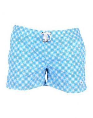 Пляжные брюки и шорты LUIGI BORRELLI NAPOLI. Цвет: небесно-голубой