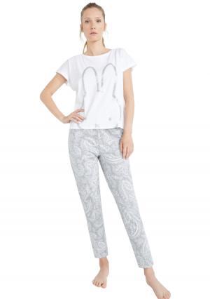 Пижама с брюками Womensecret Women'secret. Цвет: серый (серый с рисунком)