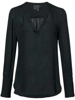 Блузка с V-образным вырезом Nili Lotan. Цвет: чёрный