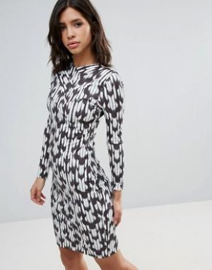 Talulah Платье с длинными рукавами и принтом Brooklyn. Цвет: темно-синий