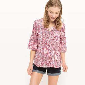 Блузка с рисунком, рукава 3/4 SUD EXPRESS. Цвет: наб. рисунок/ розовый